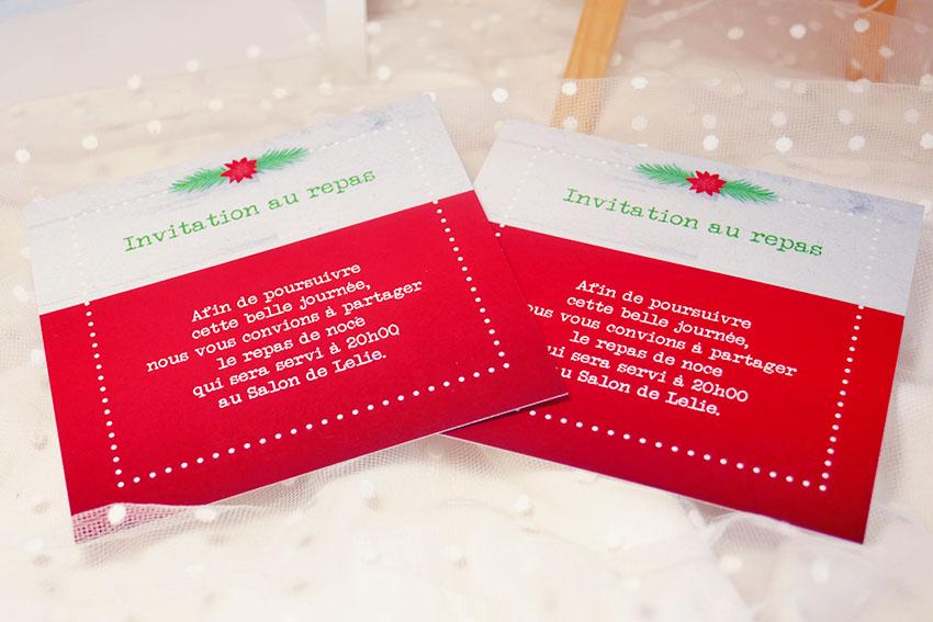 Carton d'invitation au repas de noces