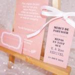 etiquettes et marque placeFaire-part de mariage pêche vintage